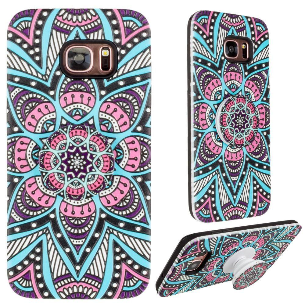 - Mandala Textured Hybrid Fashion Case with Built in Pop-out Finger Grip, Teal Blue for Samsung Galaxy S7 Edge