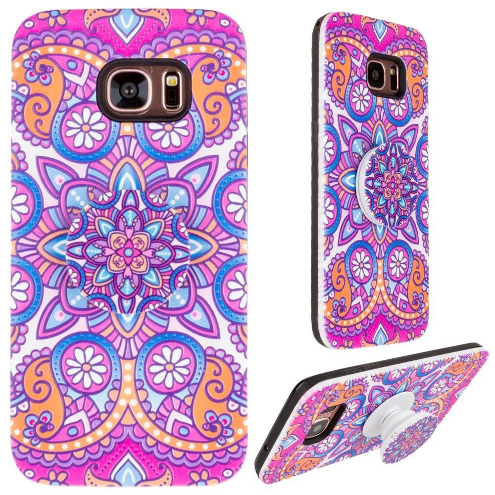 - Mandala Textured Hybrid Fashion Case with Built in Pop-out Finger Grip, Purple for Samsung Galaxy S7 Edge
