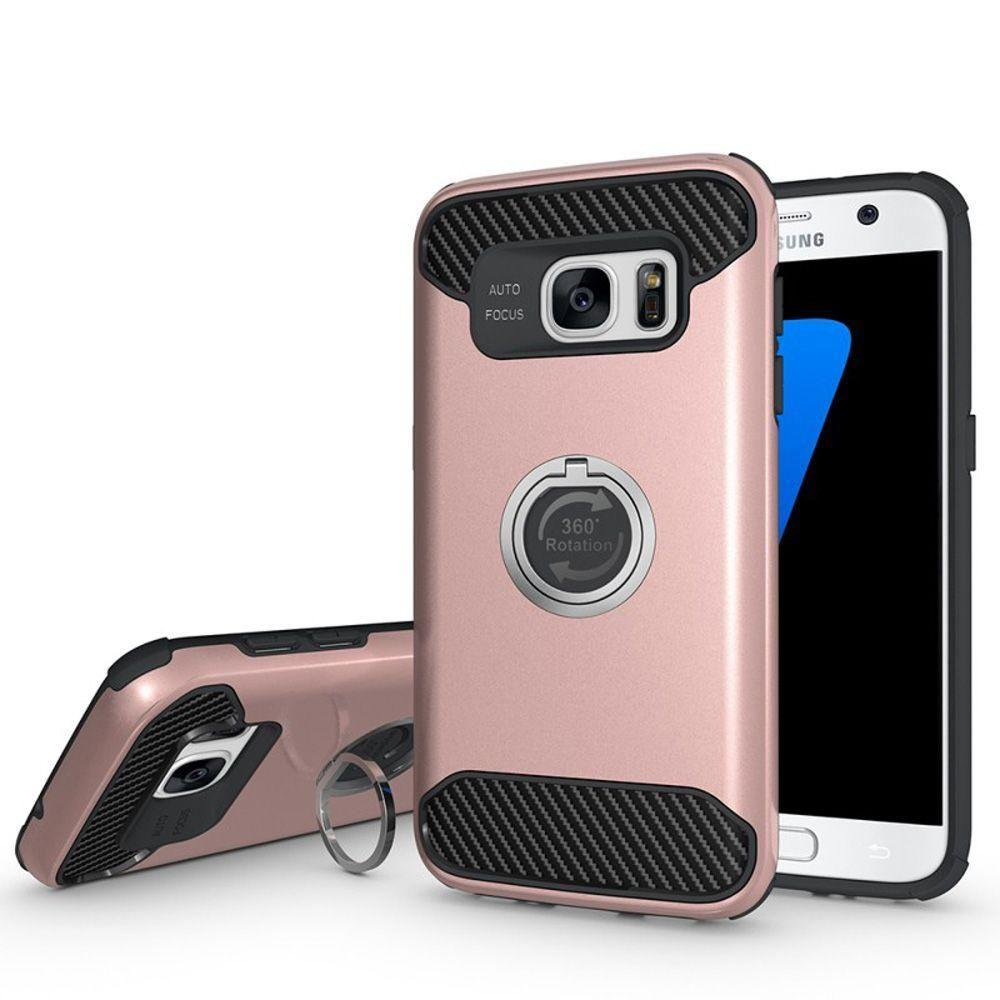 - Hybrid Rugged Case with 360 Degree Rotating Ring Stand, Rose Gold/Black for Samsung Galaxy S7 Edge