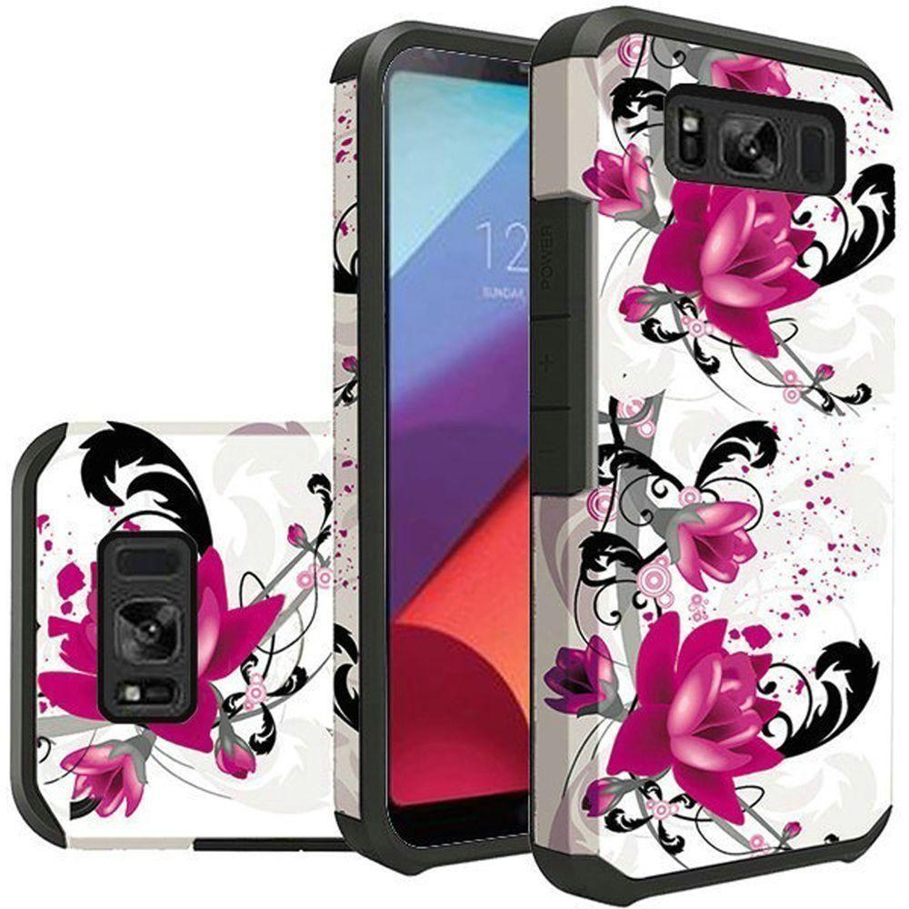 - Flowers and Vines Design Slim Hybrid Rugged Case, Pink/White