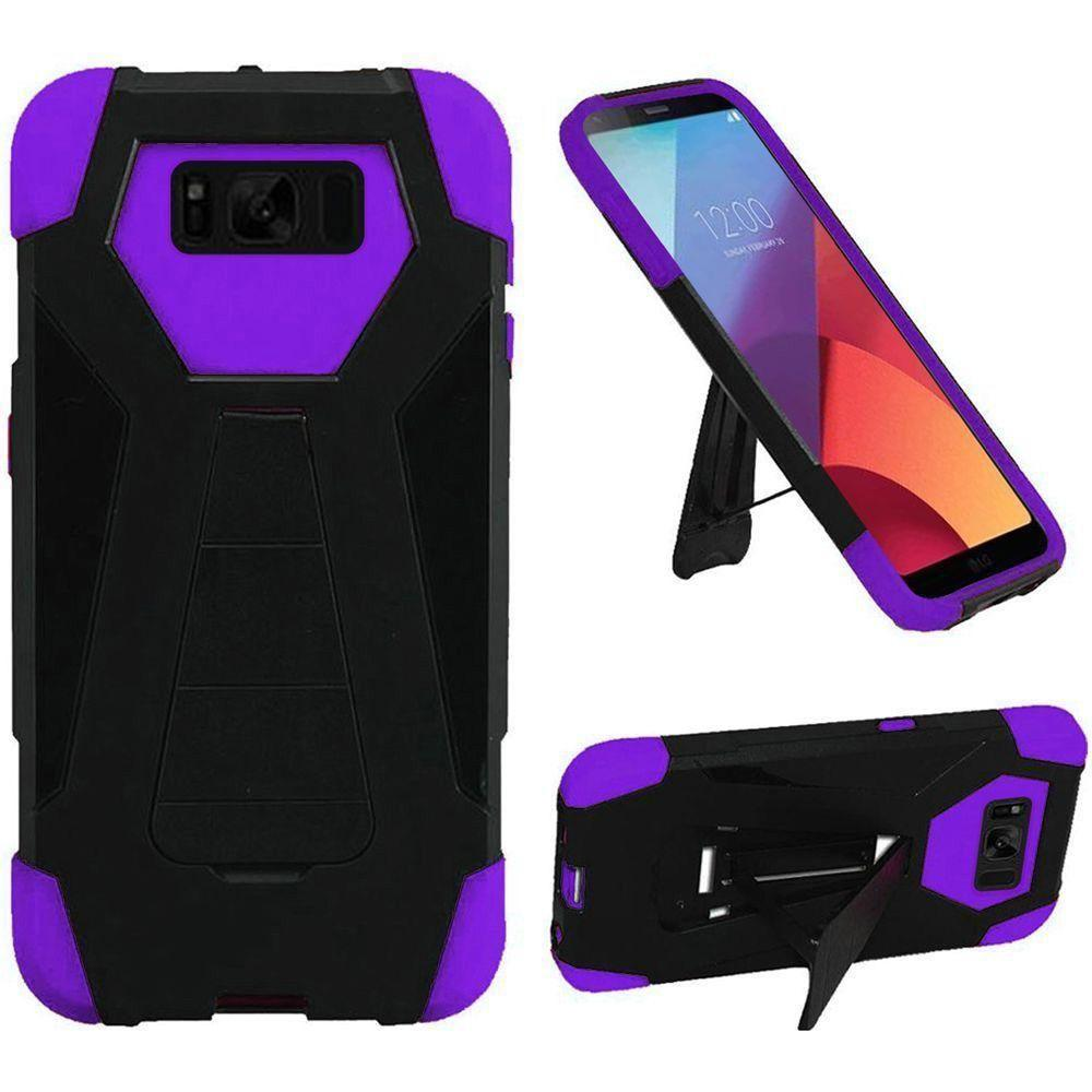 - Mighty Dual Layer Rugged Case with Kickstand, Purple/Black