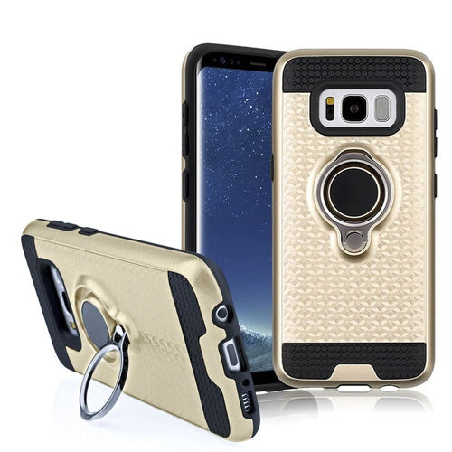 Phone Cases & Covers - Heavy-Duty Rugged Case with Hideaway Ring Holder Stand, Gold/Black for Galaxy S8 Plus
