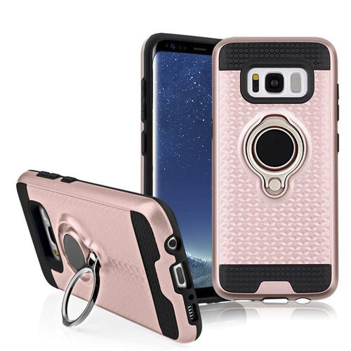 Clearance Accessories - Heavy-Duty Rugged Case with Hideaway Ring Holder Stand, Rose Gold/Black for Galaxy S8 Plus