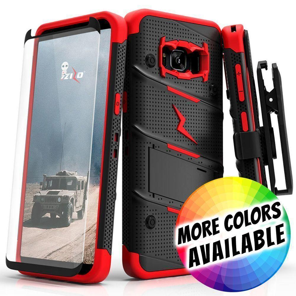 - Bolt Heavy-Duty Rugged Case, Holster and Screen Combo, Black/Red for Galaxy S8 Plus