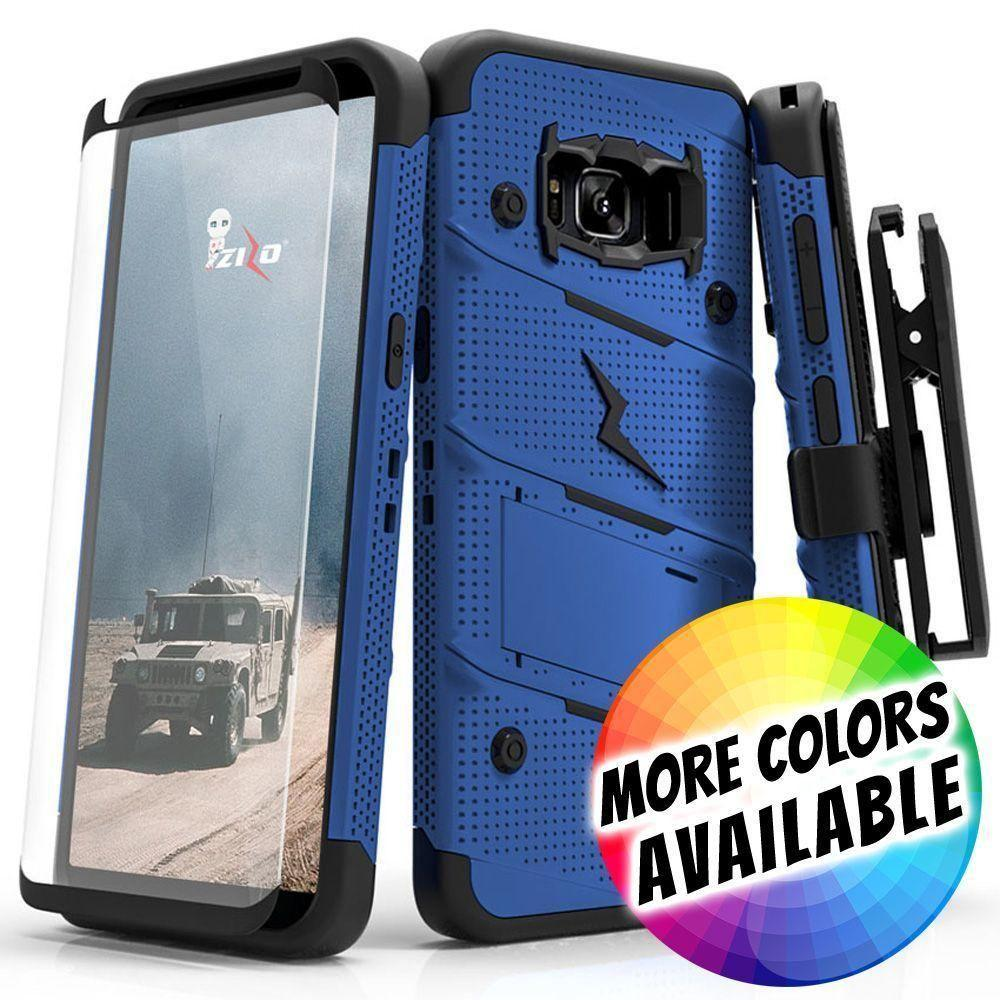 - Bolt Heavy-Duty Rugged Case, Holster and Screen Combo, Blue/Black for Galaxy S8 Plus