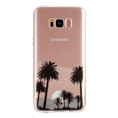 Samsung Galaxy S8 Plus - Ultra Clear Grayscale Beach Palm Trees Slim Case, Clear/Gray for Galaxy S8 Plus