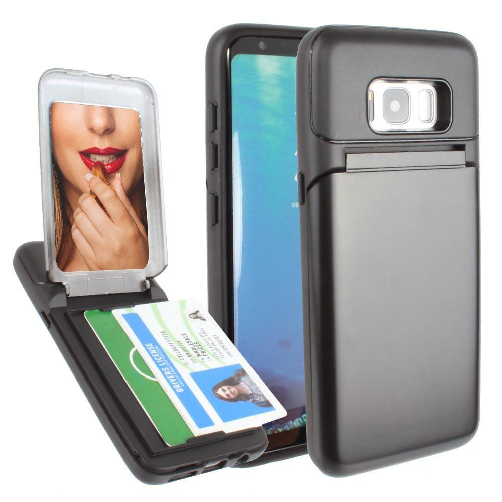 - Hard Phone Case with Hidden Mirror and Card Holder Compartment, Black for Galaxy S8 Plus