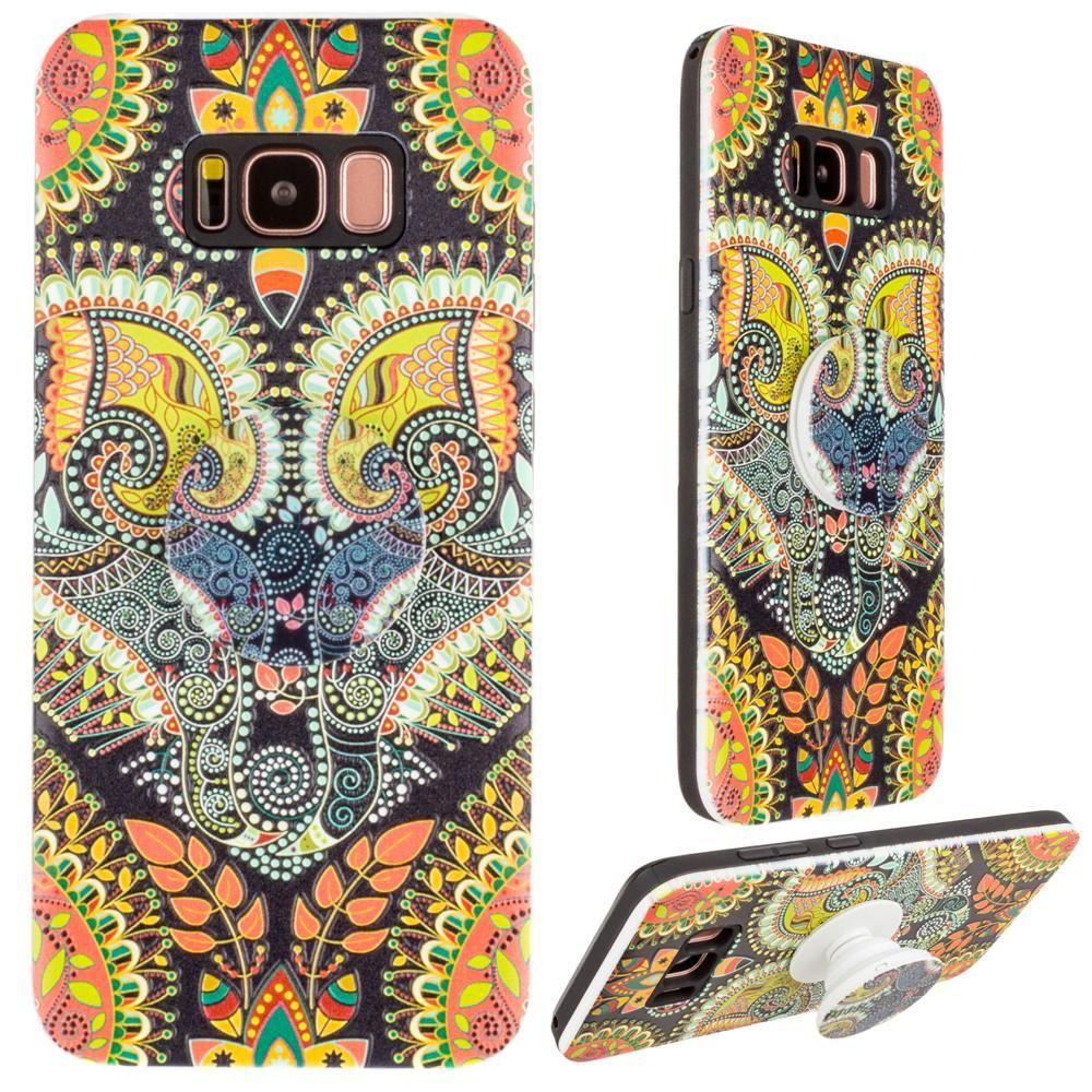 - Paisley Textured Hybrid Fashion Case with Built in Pop-out Finger Grip, Multi-Color for Galaxy S8 Plus