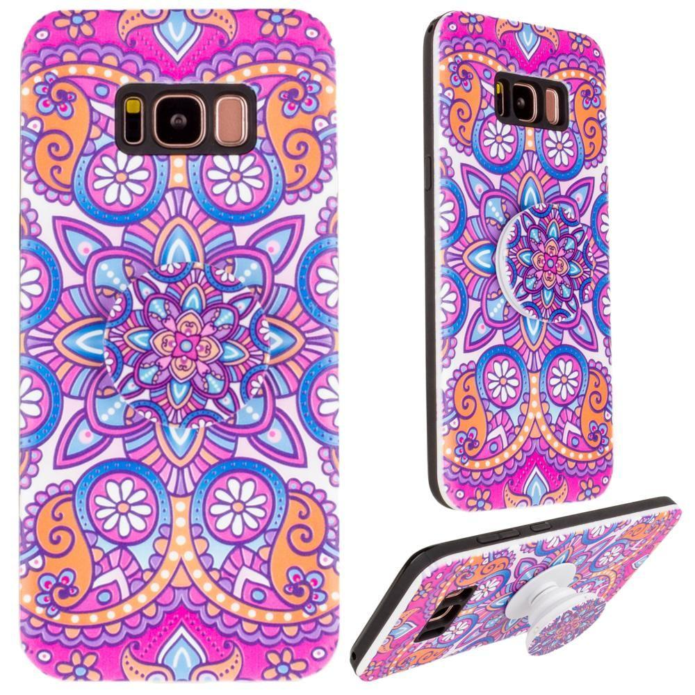 - Mandala Textured Hybrid Fashion Case with Built in Pop-out Finger Grip, Purple for Galaxy S8 Plus