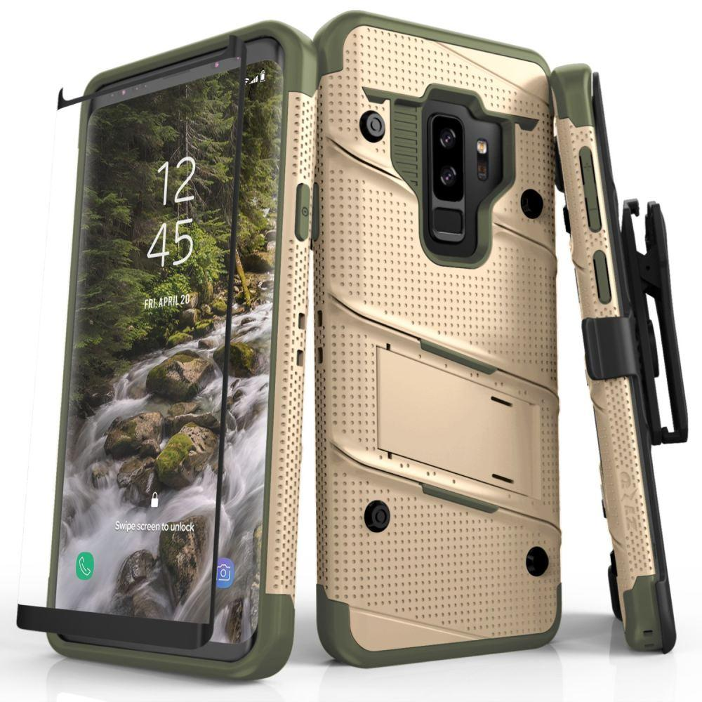 - Bolt Heavy-Duty Rugged Case, Holster and Screen Combo, Tan/Green for Samsung Galaxy S9 Plus