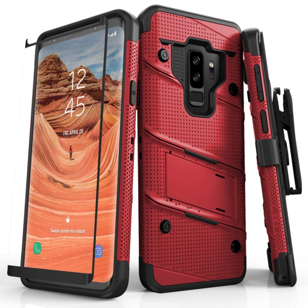 - Bolt Heavy-Duty Rugged Case, Holster and Screen Combo, Red/Black for Samsung Galaxy S9 Plus