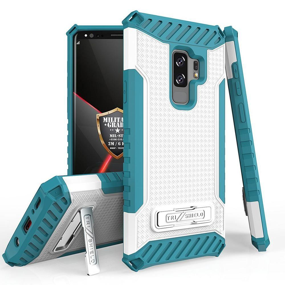 - Tri Shield Rugged Case with Kickstand and Card Holder, Light Blue/White for Samsung Galaxy S9 Plus