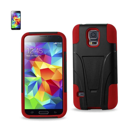 Motorola Moto E - Mighty Dual Layer Rugged Case with Kickstand, Red/Red for Samsung Galaxy S5