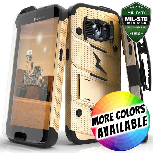 Samsung Galaxy S7 - Bolt Heavy-Duty Rugged Case, Holster and Screen Combo, Gold/Black for Samsung Galaxy S7