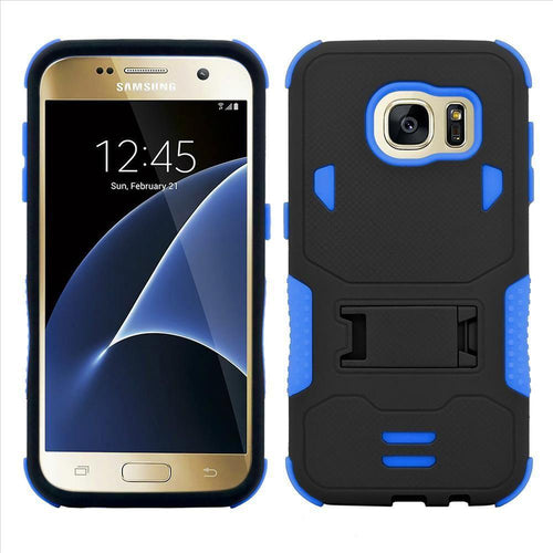 Samsung Galaxy S7 - Dual Layer Rugged Case with Kickstand, Blue/Black for Samsung Galaxy S7