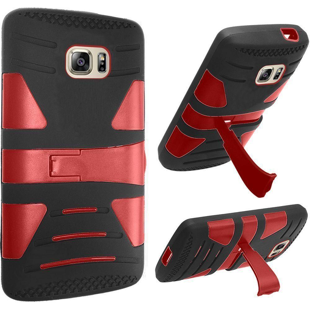 - V2 Armor Guard Rugged Case, Black/Red for Samsung Galaxy S7
