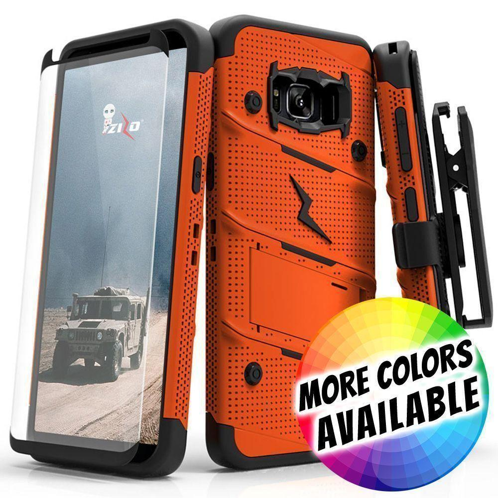 - Bolt Heavy-Duty Rugged Case, Holster and Screen Combo, Orange/Black for Samsung Galaxy S8