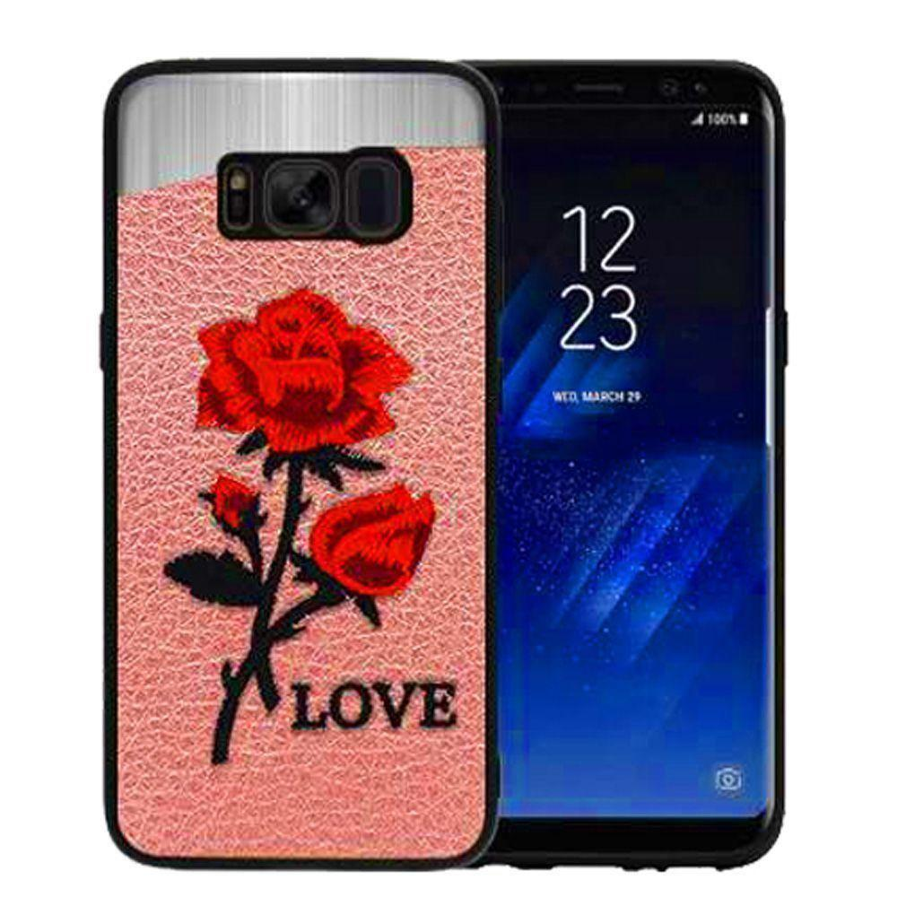 - Rose Embroidered Slim Fashion Case, Pink/Red for Samsung Galaxy S8