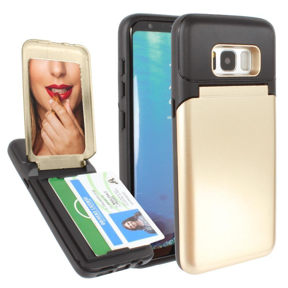 - Hard Phone Case with Hidden Mirror and Card Holder Compartment, Gold/Black for Samsung Galaxy S8