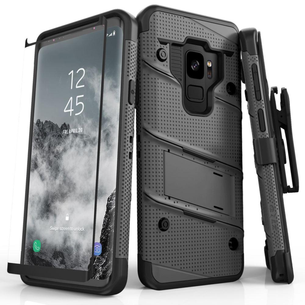 - Bolt Heavy-Duty Rugged Case, Holster and Screen Combo, Gray/Black for Samsung Galaxy S9