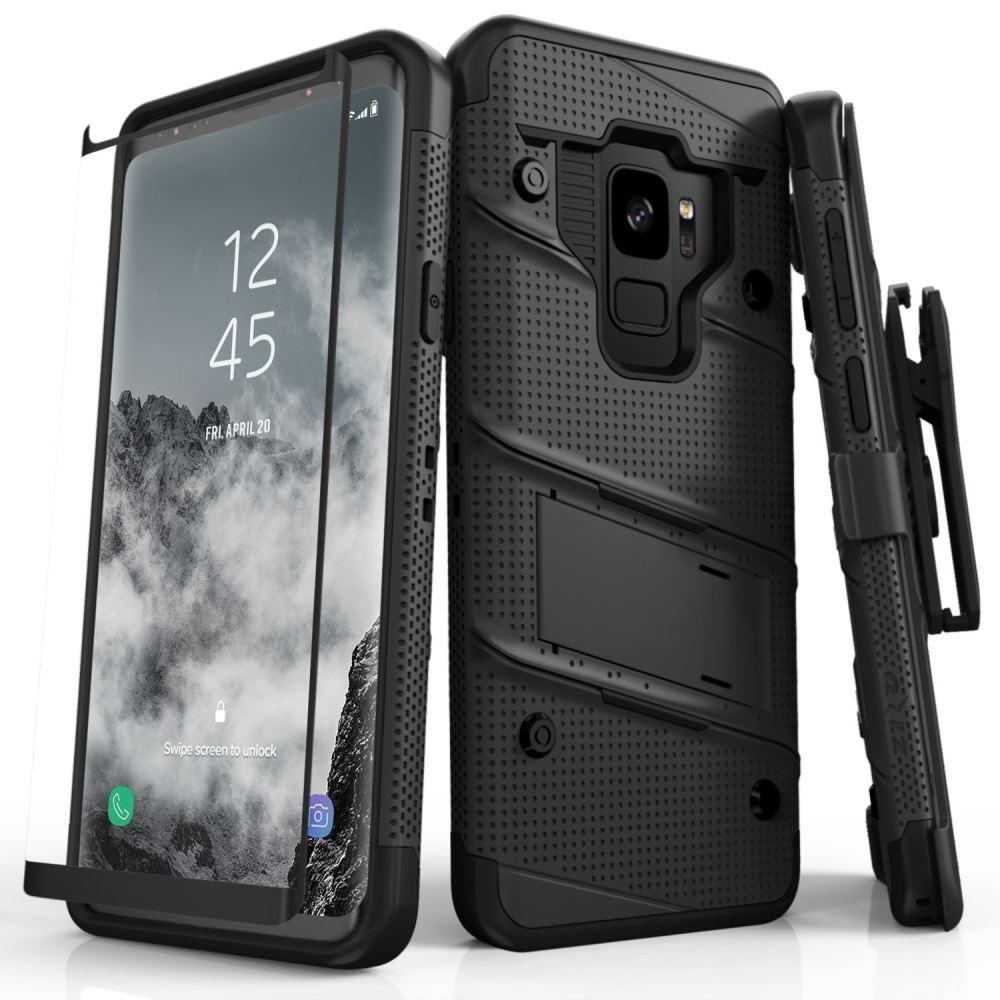 - Bolt Heavy-Duty Rugged Case, Holster and Screen Combo, Black for Samsung Galaxy S9
