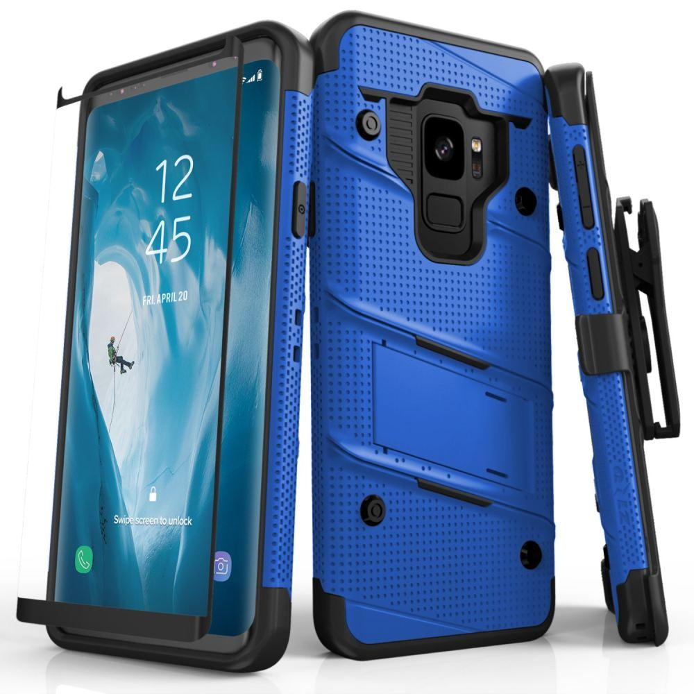- Bolt Heavy-Duty Rugged Case, Holster and Screen Combo, Blue/Black for Samsung Galaxy S9