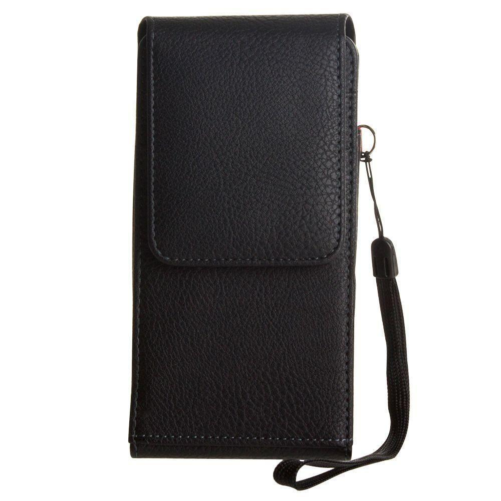 - Premium Leather Vertical Pouch with card slots and rotating belt clip, Black
