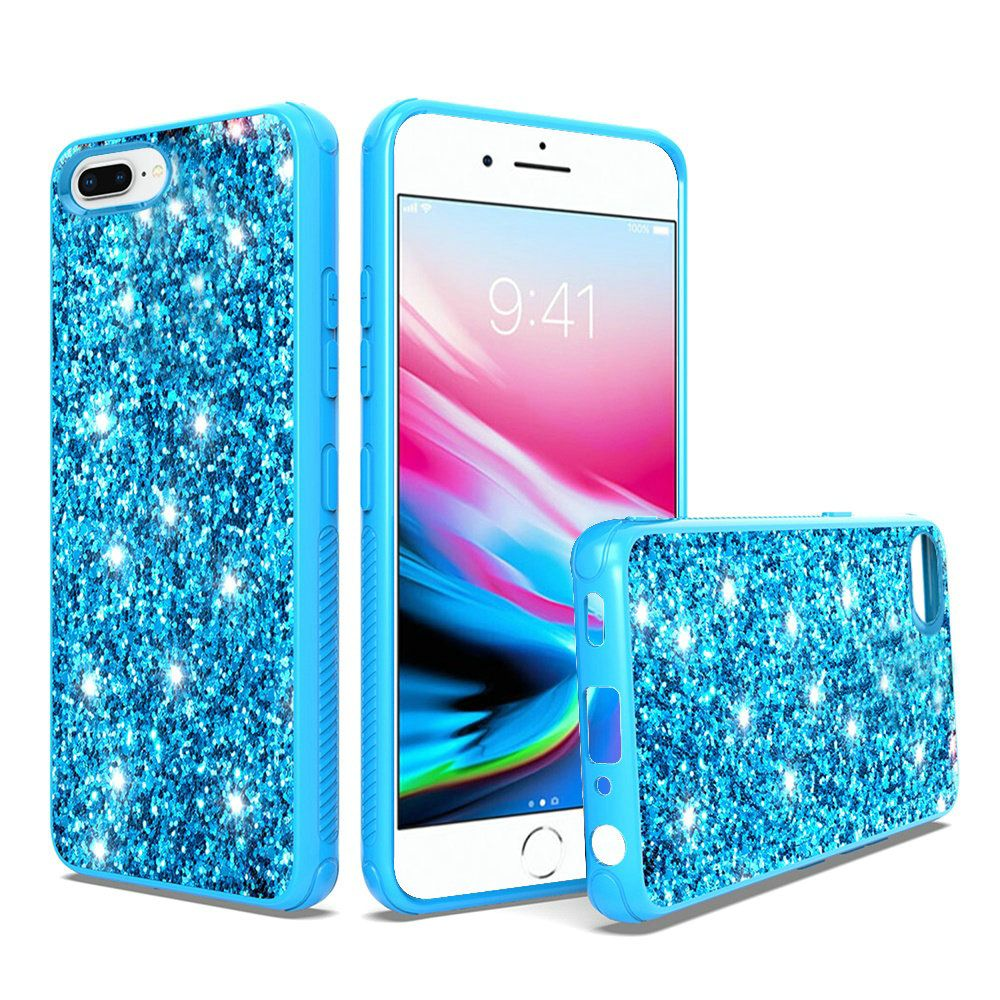 Metallic Chrome Finish Design Frozen Glitter Bling Case, Blue for Apple iPhone 8 Plus