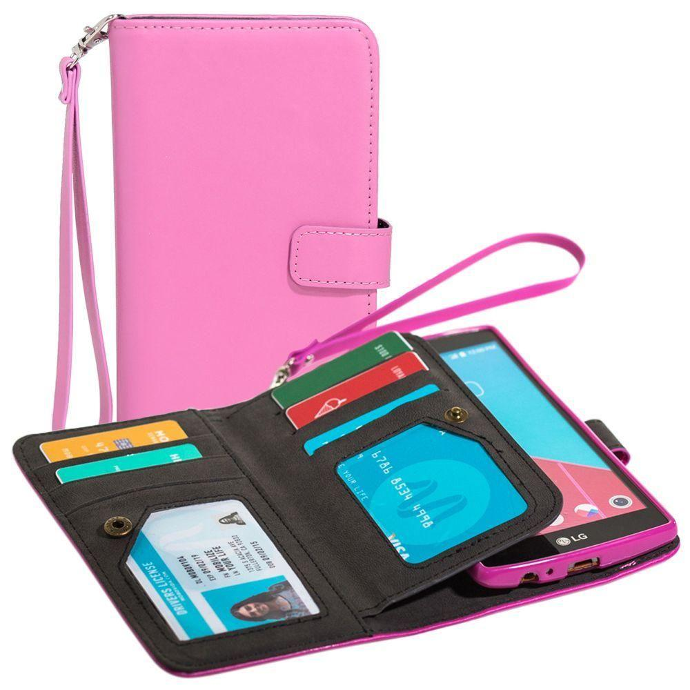 - Limited Edition Multi-Card Wallet Case with Wristlet, Pink