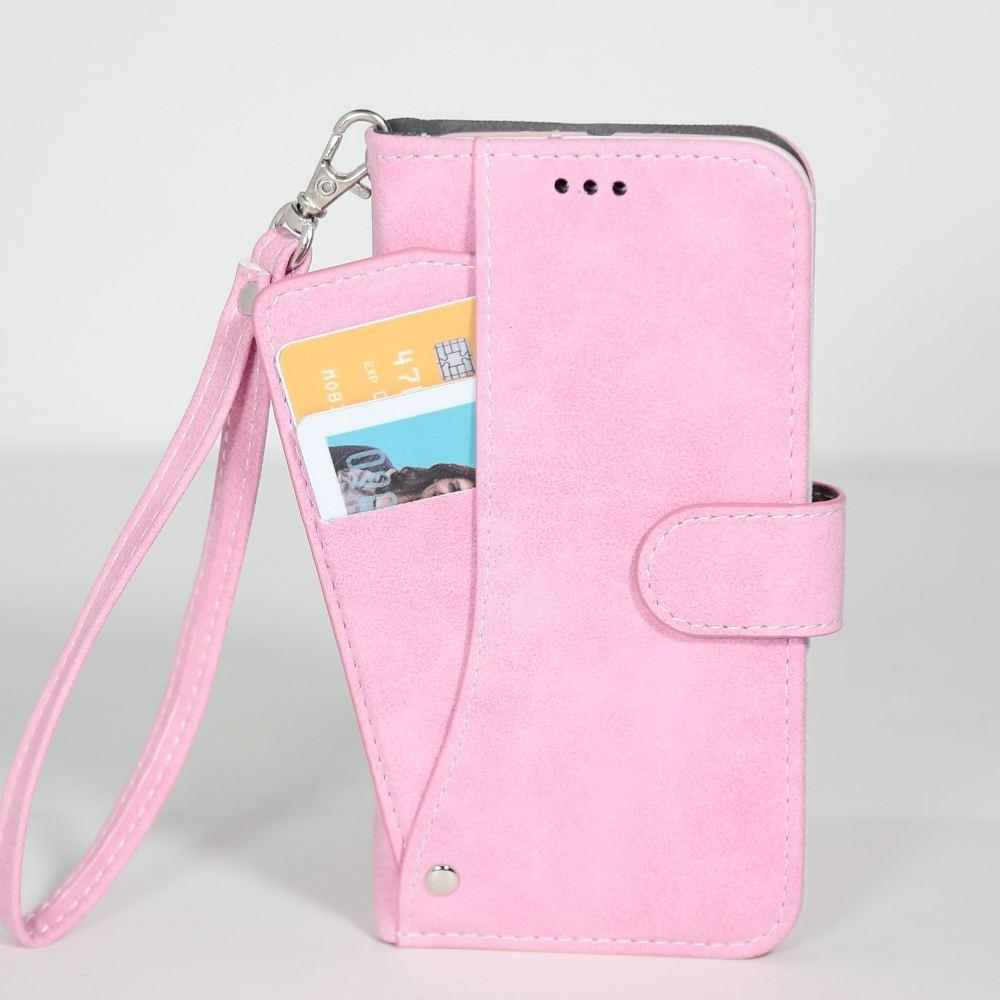 - Ultrasuede Folding Wallet Case with Slide out Card Holder and Wrist-Strap, Baby Pink