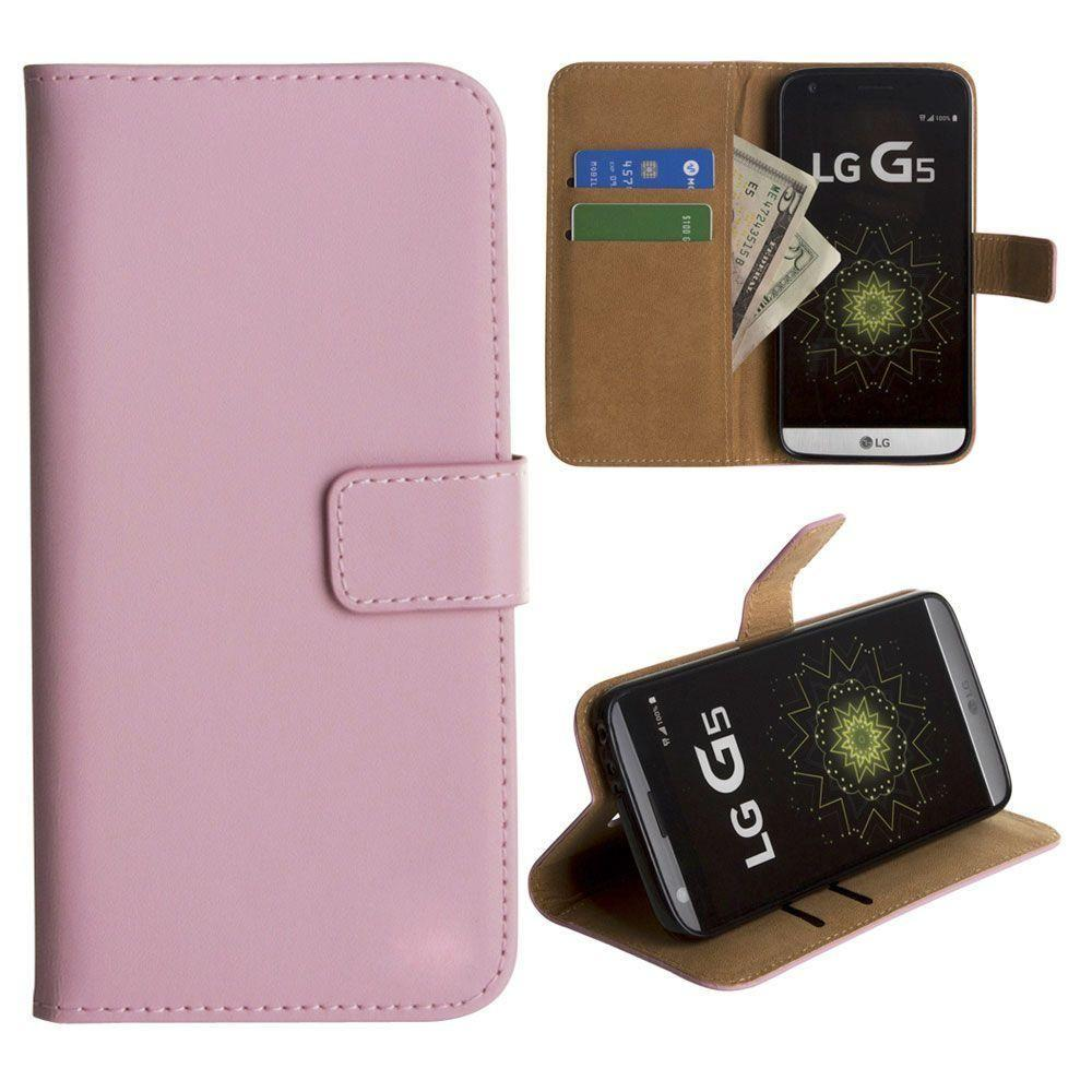 - Genuine Leather Folding Wallet Case, Baby Pink