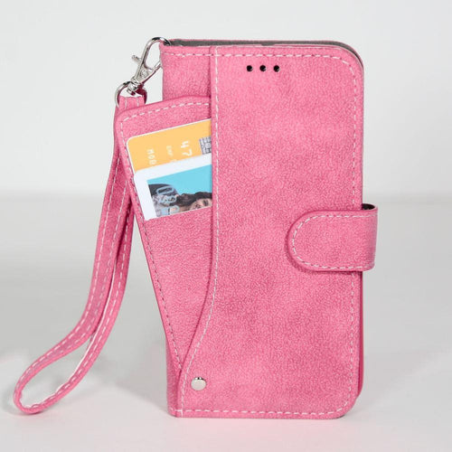 Lg V10 - Ultrasuede Folding Wallet Case with Slide out Card Holder and Wrist-Strap, Hot Pink