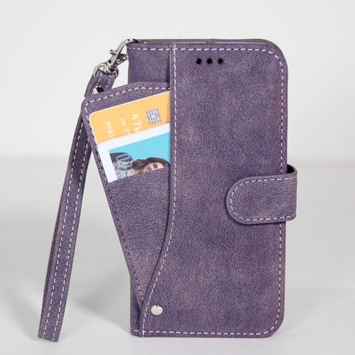 Lg V10 - Ultrasuede Folding Wallet Case with Slide out Card Holder and Wrist-Strap, Purple