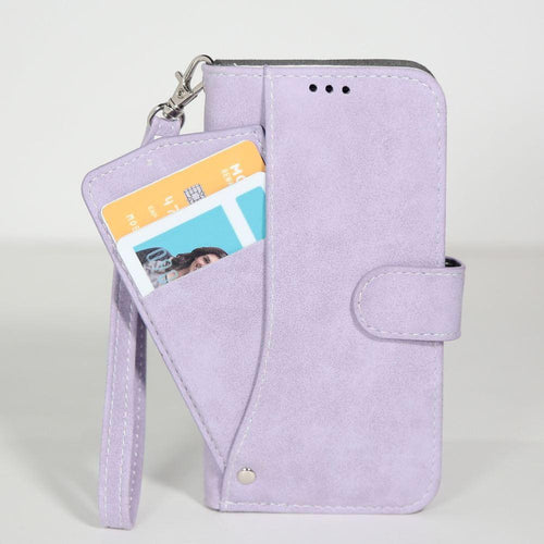 Lg V10 - Ultrasuede Folding Wallet Case with Slide out Card Holder and Wrist-Strap, Lavender