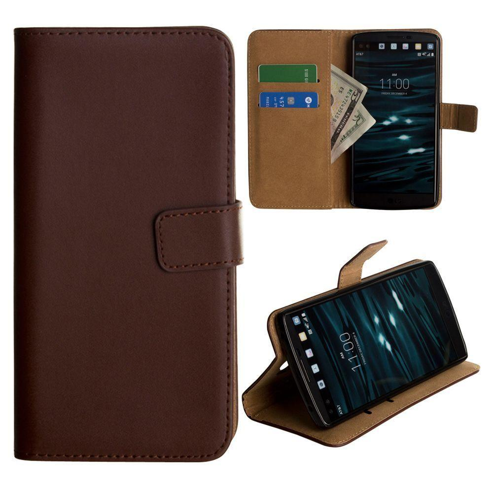 - Genuine Leather Folding Wallet Case, Brown