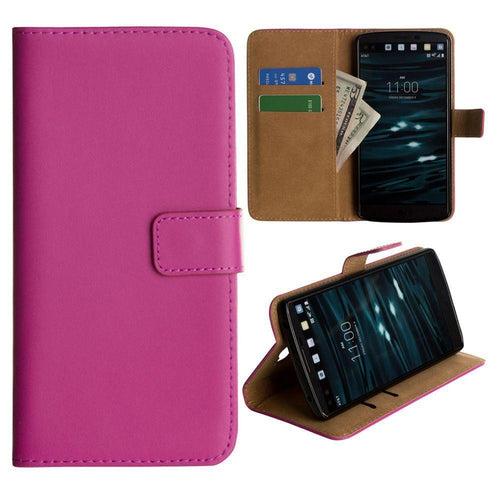Lg V10 - Genuine Leather Folding Wallet Case, Hot Pink