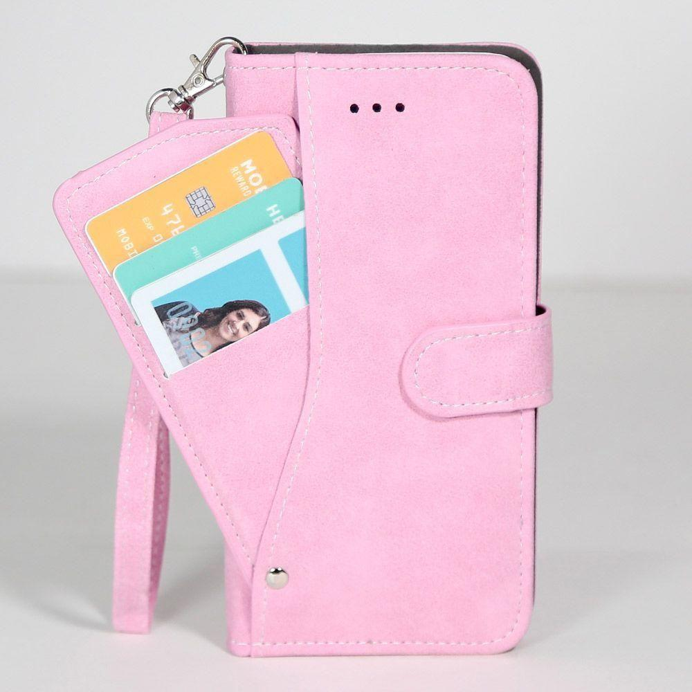 - Ultrasuede Folding Wallet Case with Slide out Card Holder and Wrist-Strap, Baby Pink for Samsung Galaxy S6 Edge Plus