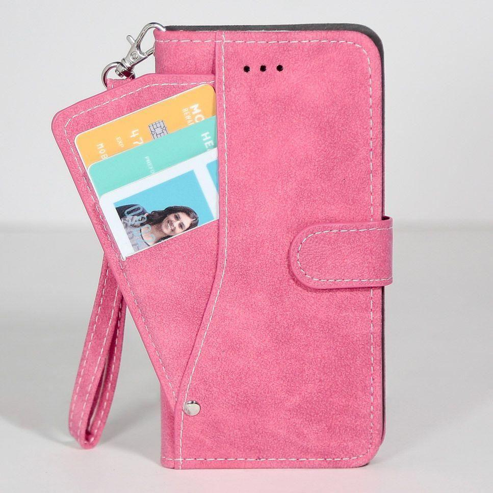 - Ultrasuede Folding Wallet Case with Slide out Card Holder and Wrist-Strap, Hot Pink for Samsung Galaxy S6 Edge Plus