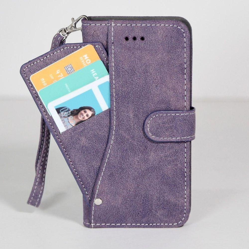 - Ultrasuede Folding Wallet Case with Slide out Card Holder and Wrist-Strap, Purple for Samsung Galaxy S6 Edge Plus