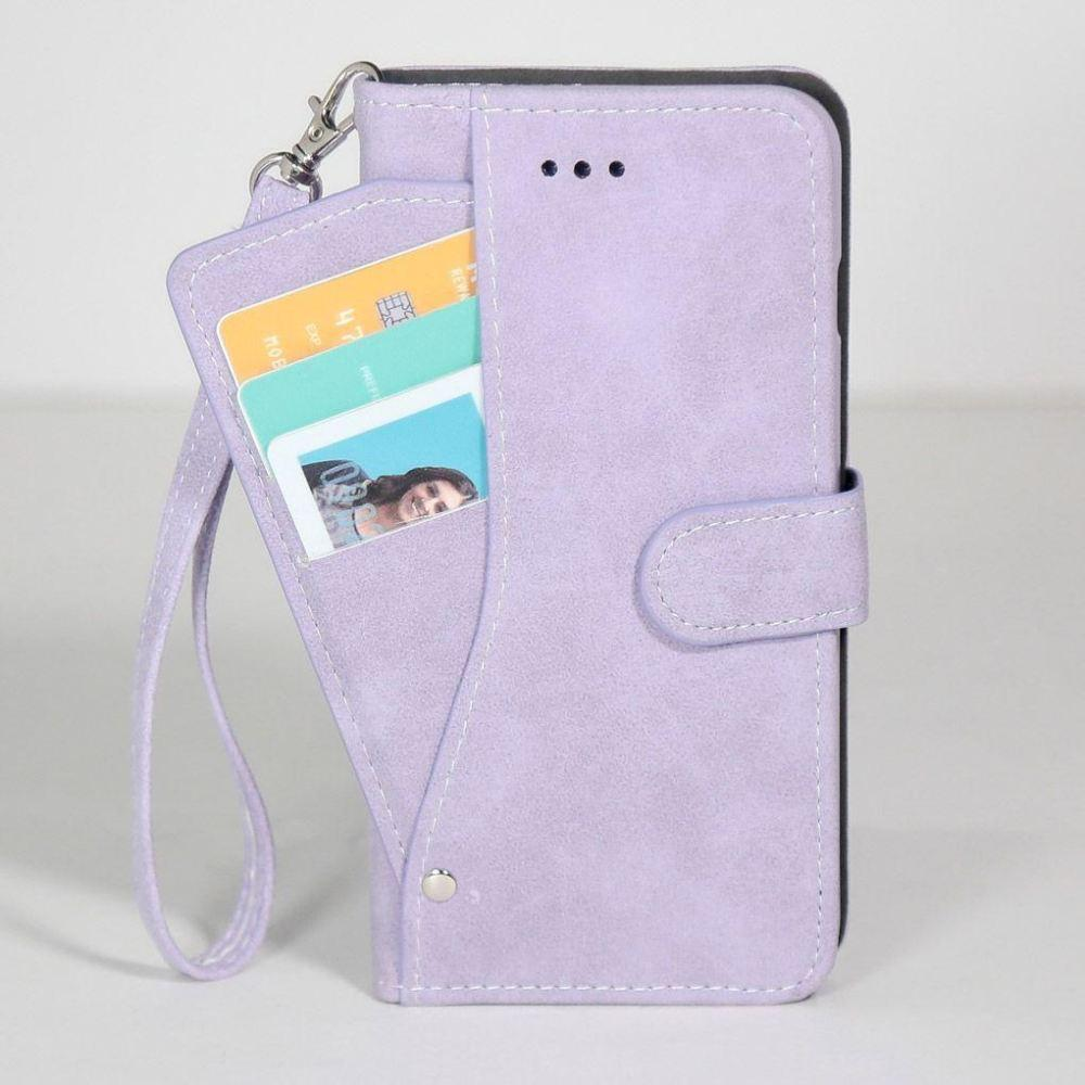 - Ultrasuede Folding Wallet Case with Slide out Card Holder and Wrist-Strap, Lavender for Samsung Galaxy S6 Edge Plus