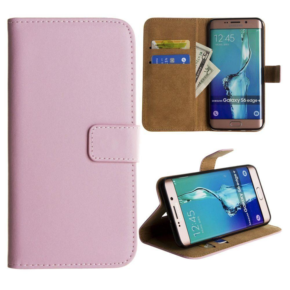 - Genuine Leather Folding Wallet Case, Baby Pink for Samsung Galaxy S6 Edge Plus