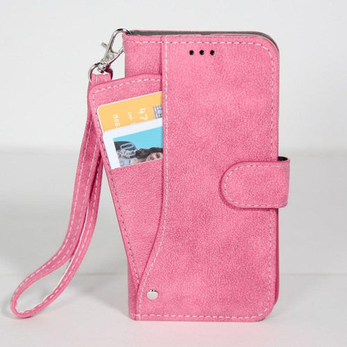 Samsung Go Prime - Ultrasuede Folding Wallet Case with Slide out Card Holder and Wrist-Strap, Hot Pink