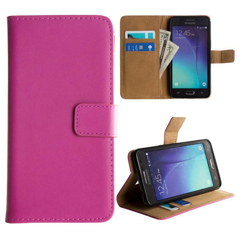 Samsung Go Prime - Genuine Leather Folding Wallet Case, Hot Pink