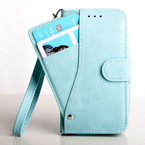 Samsung Galaxy Core Prime - Ultrasuede Folding Wallet Case with Slide out Card Holder and Wrist-Strap, Light Blue