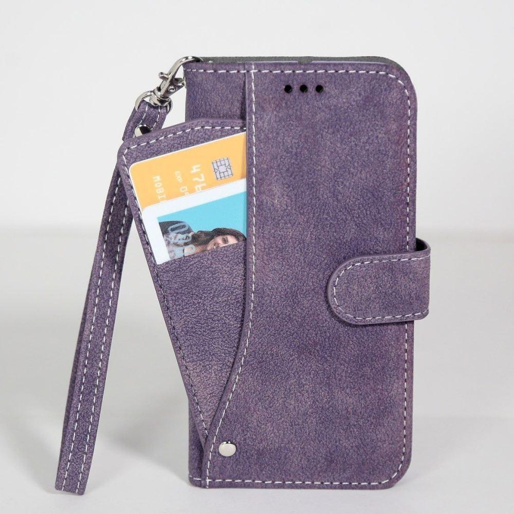 - Ultrasuede Folding Wallet Case with Slide out Card Holder and Wrist-Strap, Purple