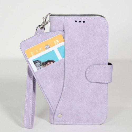 Samsung Galaxy Core Prime - Ultrasuede Folding Wallet Case with Slide out Card Holder and Wrist-Strap, Lavender