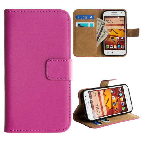 Samsung Galaxy Core Prime - Genuine Leather Folding Wallet Case, Hot Pink