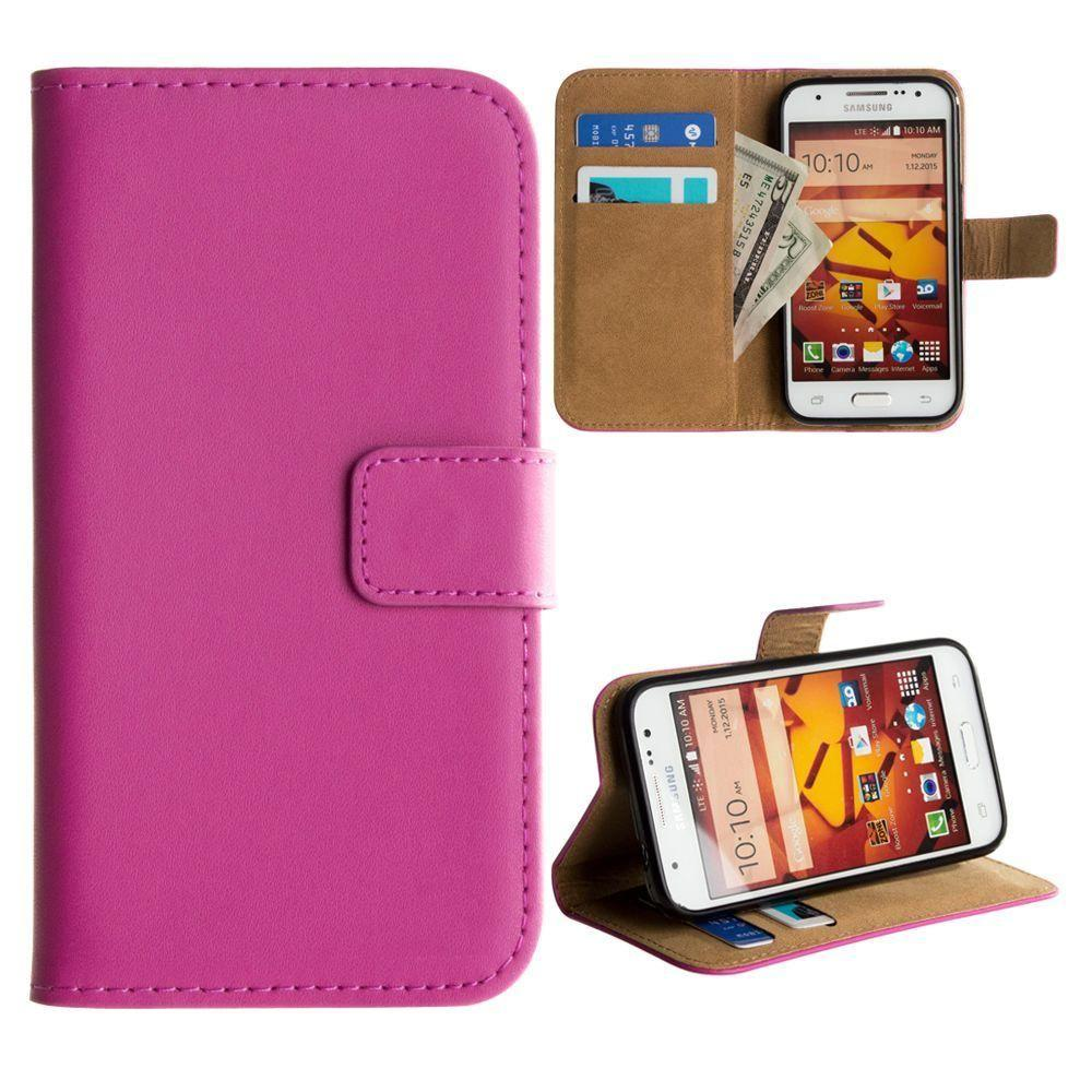 - Genuine Leather Folding Wallet Case, Hot Pink