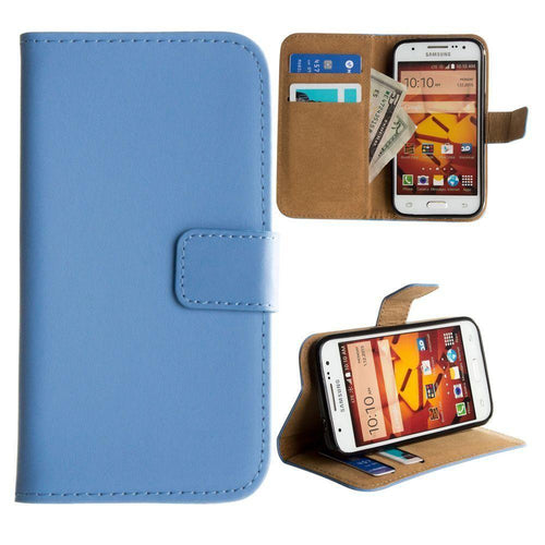 Samsung Galaxy Core Prime - Genuine Leather Folding Wallet Case, Baby Blue