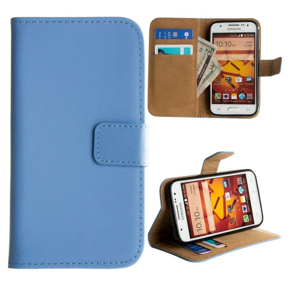 - Genuine Leather Folding Wallet Case, Baby Blue